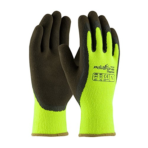 PIP 41-1405 Powergrab Thermo Hi Vis Green Latex Coated Gloves Large 12 Pair