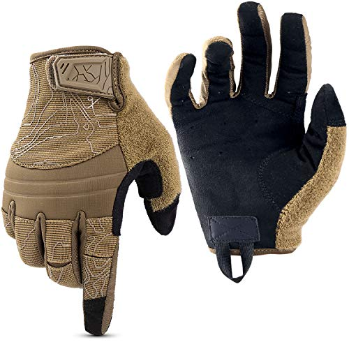 WPTCAL Shooting Gloves Touch Screen Full Dexterity Tactical Gloves Garden Full Finger Gloves for Operating Work Hunting Hiking Sports-Brown (L)