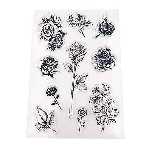 MaGuo Valentine's Day Rose Clear Stamps for Paper Crafting DIY Scrapbooking Card Making Decoration