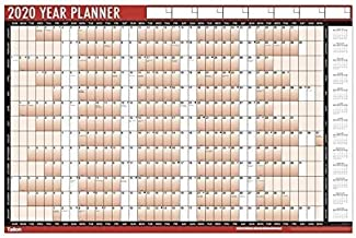 Tallon 3805 Red Black 2020 A1 Laminated Yearly Wall Planner Calendar With Wipe Dry Pen & Sticker Dots