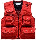 Chaqueta De Múltiples Bolsillos De Los Hombres Caza Ropa/Pesca/Fotografía/Trabajo Chaleco De Pesca con Mosca Sin Mangas con Cuello En V Moda Vintage Exterior Outwear Coat