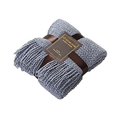 ALPHA HOME Knit Throw Blanket Perfect Gift Warm & Cozy for Couch Sofa Bed Beach Travel - 50  x 60 , Blue-gray