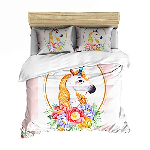 HNHDDZ Bedding Duvet cover and Pillowcase 3D Unicorn Cartoons Pattern Microfiber Bedding set for Kids Boy Girl Soft Smooth Breathable (Pink, Double 200x200 cm)