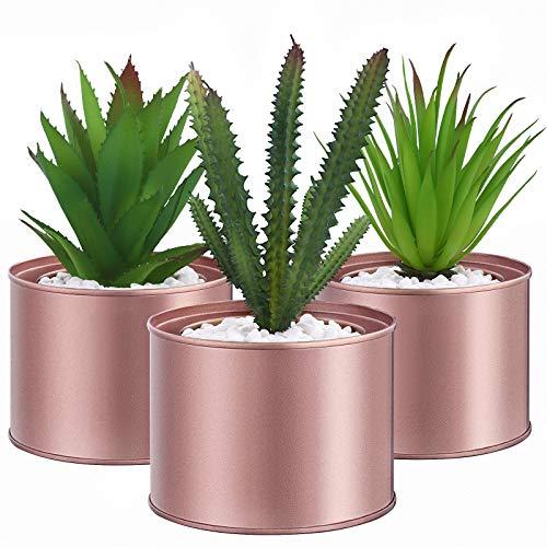 SONGMICS Künstliche Pflanzen im Topf, 3 Stück Kunstpflanzen, unechte Zimmerpflanzen, Dekopflanzen fürs Wohnzimmer, Büro, Bücherregal, Tischdeko, roségoldene Töpfe, grün LAP204A02