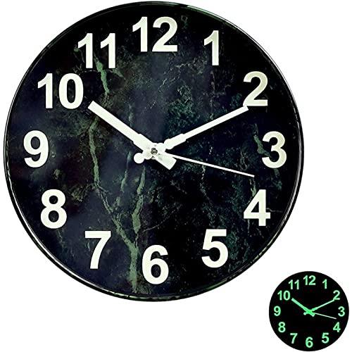Reloj De Pared Luminoso, Reloj De Pared Grande De Metal De 12 Pulgadas Sin Ruido, Reloj De Pared Moderno, Relojes De Pared con Luz Nocturna Reloj De Pared Vintage Deco para Oficina