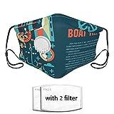 Dust Face Co-Ver, Text platzieren Yacht Club Anchor Transport Waschbarer Mundschutz mit austauschbarem Filter und Entlüftungsventilen