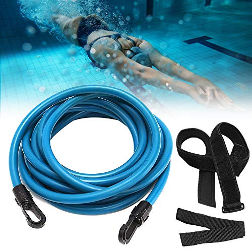Swimming Belt, Swim Resistance Tether System Bungee Cord,Swim Training Equipment Leash Swim Harness Static Stationary Belt in Place for Woman Adults Kids (Blue)