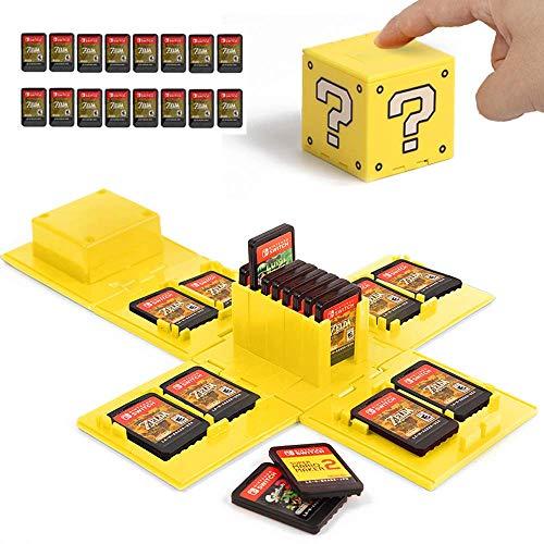 Nintendo Switch - Custodia per carte di gioco, supporto per Nintendo Switch Games con 16 slot (blocco domanda giallo)