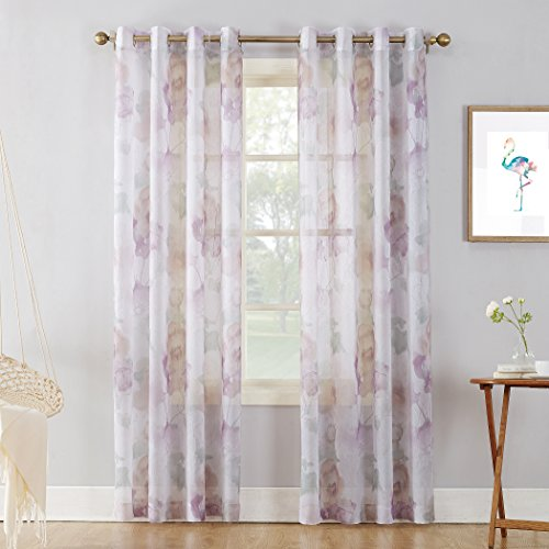 """No. 918 Andorra Watercolor Floral Crushed Texture Sheer Voile Curtain Panel, 51"""" x 95"""", White"""