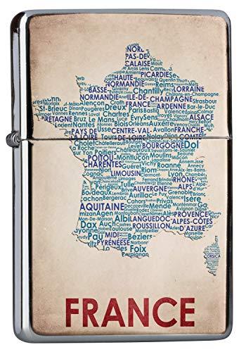 Chrom Sturm Feuerzeug Benzinfeuerzeug aus Metall Aufladbar Winddicht für Küche Grill Zigaretten Kerzen Bedruckt Weltenbummler Kartenausschnitt Frankreich