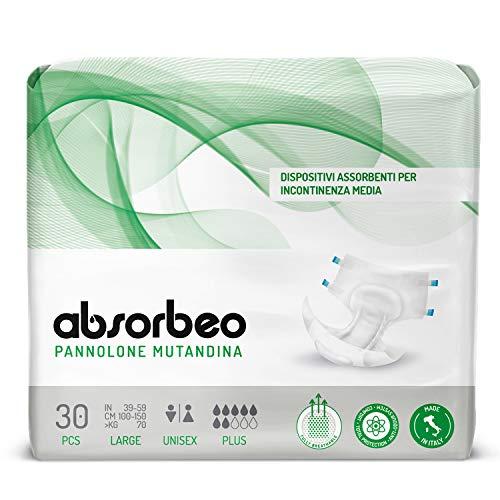 Absorbeo - Pannolone Mutandina Plus – Dispositivi Assorbenti per Incontinenza Media, Unisex, Taglia L (30 pezzi x conf.)