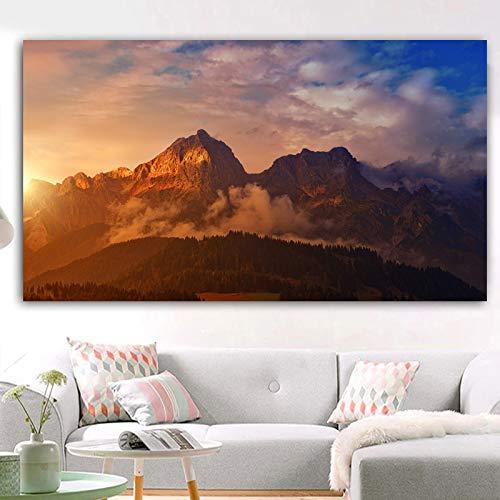 N/A Künstlerische Wolken und Bergbäume Sonnenuntergang Landschaft drucken Leinwand Malerei Poster moderne Wohnzimmer Dekoration (Druck ohne Rahmen) E 60x120CM