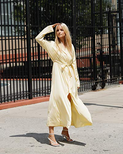The Drop Women's Pastel Yellow Oversized Tie Waist Coat Dress by @thefashionguitar