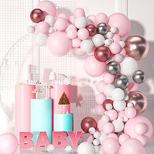 VAINECHAY 104 Pezzi Garland Kit Balloon Arch Garland, Rosa Bianco Oro Rosa Balloon Arch Garland Kit per decorazioni per feste di compleanno Baby Shower Blue e White