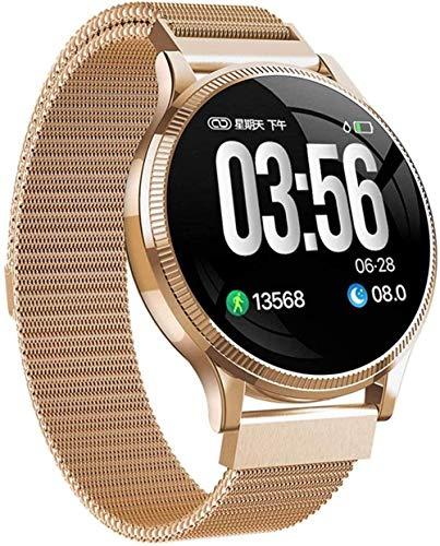 DHTOMC Hombres y mujeres relojes inteligentes 1.24 pulgadas pantalla fitness tracker deportes podómetro pulsera mensaje push inteligente recordatorio IP67 impermeable-oro