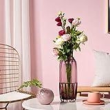 TRUSTWOODS Jarrón de cristal acanalado soplado a mano, jarrones de mesa, mesa de mesa, caja de regalo, violeta, 31 cm de alto