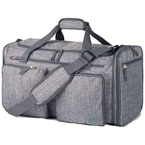 Foldable Sports Gym Bag with Wet Bag & Shoes Compartment, Travel Duffel for Men and Women (Denim Grey)