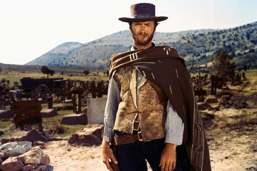Nostalgia Store Clint Eastwood The Good, Bad and Fgly 24x36 Póster de poncho de cigarro
