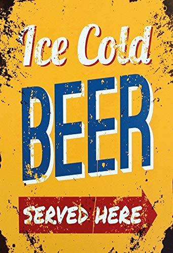 NWFS Bier Ice Cold Beer Served here - Cartel de chapa metálica (20 x 30 cm), diseño de cervezas