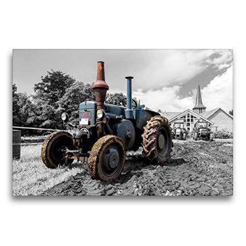 Premium Textil-Leinwand 75 x 50 cm Quer-Format Lanz Bulldog   Wandbild, HD-Bild auf Keilrahmen, Fertigbild auf hochwertigem Vlies, Leinwanddruck von Andrea Dreegmeyer