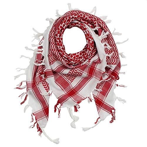 Freak Scene Kufiya - Keffiyeh - blanco - rojo - 100x100 cm - Pañuelo palestino de Arafat - PLO Pali chal - 100% algodón