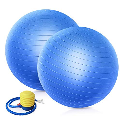 QF Yoga Exercise Ball Birthing Ball Fitness Ball (2 Pack), 55cm 65cm 75cm Swiss Ball with Foot Pump, Pilates Ball Barre Ball for Pilates, Yoga, Core Training and Physical Therapy, Balance Stability