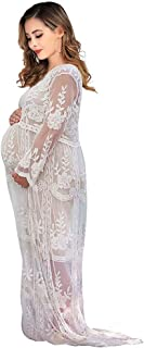 Women's Long Sleeve V Neck White Lace Floral Maternity Gown Maxi Photography Dress
