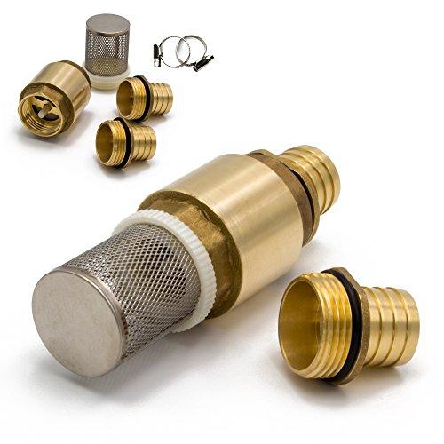 AWM Saugschlauch Adapter Set Messing, Saugfilter Anschlussstück 25 mm, 1 Zoll Rückschlagventil inkl. Gummidichtungen HWW-AG-AM