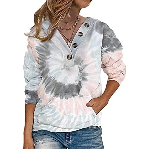 SLYZ Camiseta De Manga Larga para Mujeres Europeas Y Americanas con Estampado De Teñido Anudado Suéter De Manga Larga con Botones Sueltos