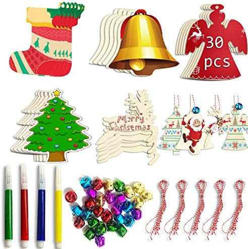 SANKUU Christmas Wooden Ornaments Unfinished 5 Styles Craft Wood Kit for Hanging Christmas Tree product image
