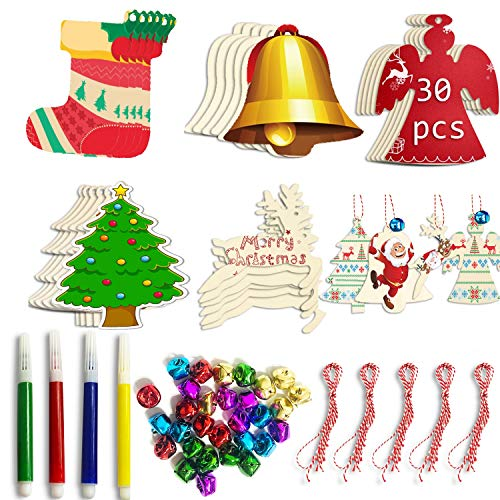 SANKUU Christmas Wooden Ornaments Unfinished,5 Styles Craft Wood Kit for Hanging Christmas Tree Decoration,Christmas Ornaments Crafts with 30 Ropes and 30 Jingle Bells
