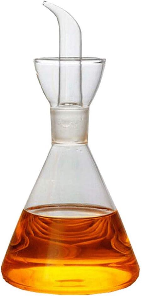 Hemoton Aceitera de cristal antigoteo, cónica, dosificador de aceite y vinagre (250 ml)