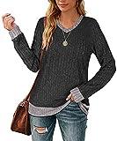 Aokosor Sweatshirt for Women V Neck Tunic Tops to Wear with Leggings Long Shirts XL