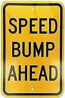 黄色の金属製のブリキの看板に黒のスピードバンプがあります通知通りの交通危険警告耐久性、防水性、防錆性