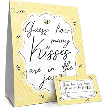 How Many Kisses Bumble Bee Party Game  Sign with Cards