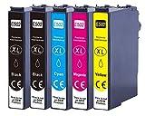 502xl - Cartuchos de tinta de repuesto para Epson 502 XL Multipack para Epson Expression Home XP-5100 XP-5105 XP5100 XP5105 Workforce WF-2860 WF2860 DWF WF-2865 WF2865 DWF (5 unidades)