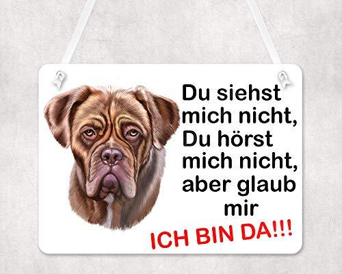 Warnschilder für Hunde, Türschild Bordeaux Dogge, UV-geschützte Eingangsschilder, Wetterfest, Größe 20x28cm, wird mit einem Seil zum Aufhängen geliefert, Bordeaux Dogge Hund