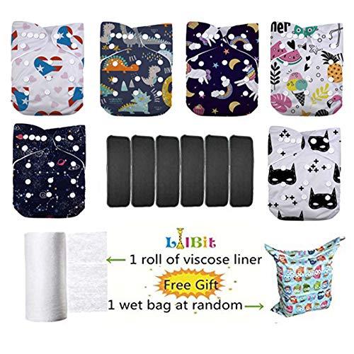 Wiederverwendbare, anpassbare Stoffwindeln von LilBit, 6 Stück, waschbar, für Taschenwindeln, mit 6 5-lagigen Bambus-Einsätzen, LBT-UK