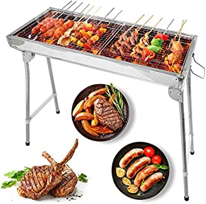 Greensen Charcoal Barbecue Grill Portable BBQ Charcoal Grill Foldable Stainless Steel Barbecue Grill for Camping Picnic Outdoor Party, Easy to Carry, Lightweight, Silver