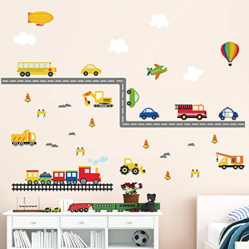 decalmile Pegatinas de Pared Transportes Vinilos Decorativos Construcción Vehículo Coches Camión Adhesivos Pared Habitación Niño Infantiles Bebés Cuarto de Jugar
