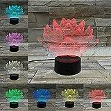 3D Ilusión Luz de Noche Beautiful floral plate set Ilusión Lámpara de mesa Luces con para la decoración del partido Presentes de cumpleaños Con interfaz USB, cambio de color colorido