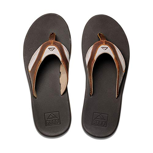 Reef Men's Sandals Leather Fanning | Bottle Opener Flip Flops For Men, Brown/Brown 4, 11