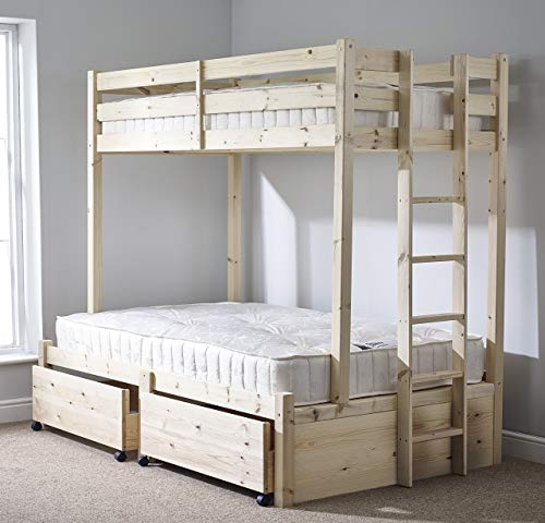 Strictly Beds and Bunks - Double and Single Bunk Bed with Storage, 4ft 6 Double 3ft Single