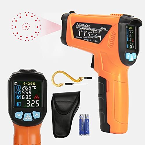 AIDBUCKS AD90 Termometro a Infrarossi -50°C a 800°C Termometro Digitale Laser con Sonda di Tipo K, LCD Display, Temperatura Ambiente e L'umidità, per Cucina, Riparazioni Auto, Industria, Piscine, ecc