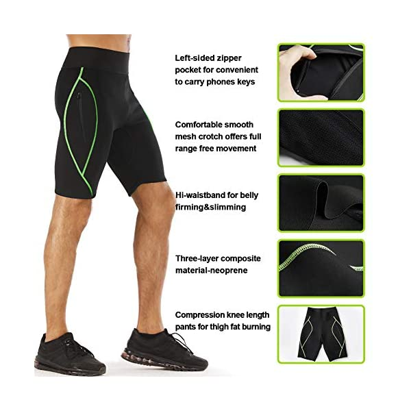 LODAY Mens Neoprene Sauna Sweat Shorts with Zipper Pocket Workout Body Shaper Slimming Yoga Pants