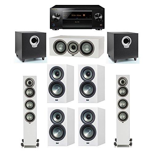 Lowest Prices! ELAC Uni-Fi Slim White 7.2 System with 2 FS-U5 Floorstanding Speakers, 1 CC-U5 Center...