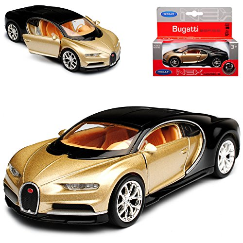 Bugatti Chiron Coupe Gold Beige Ab 2016 ca 1/43 1/36-1/46 Welly Modell Auto mit individiuellem Wunschkennzeichen