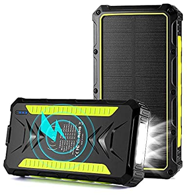Solar Charger 15W 36000mAh, Wireless Qi Portable Solar Power Bank External Battery Pack Waterproof Solar Phone Charger with LED Flashlights, Compatible Smartphones, Tablets, Switch