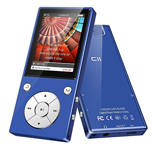 MP3 Player Bluetooth4.2 Built-in Speaker 16GB with 2.4 Inch TFT Color Screen Lossless Sound Music Video Player with FM Radio, Supports SD Card up to 128GB by DeeFec - Blue