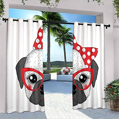 Bulldog - Cortinas para patio al aire libre, con diseño de pajarita y gafas de estilo retro, resistentes a la intemperie, a prueba de decoloración, color gris bermellón y negro